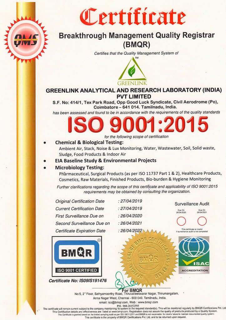 Greenlink lab ISO-9001-2015